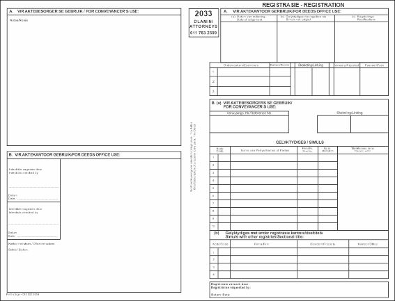 A deeds lodgement cover form