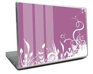 Laptop skin with white flowers on a purple background