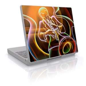 Laptop cover sticker with artwork of a man blowing a trumpet