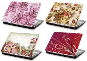 4 Laptop skins with flower motifs on them