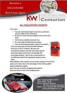 Flyer promoting KW Real Estates